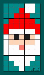 père noël Melty Bead Patterns, Bead Loom Patterns, Perler Patterns, Beading Patterns, Quilt Patterns, Pixel Art Noel, Cross Stitch Designs, Cross Stitch Patterns, Crochet Pixel