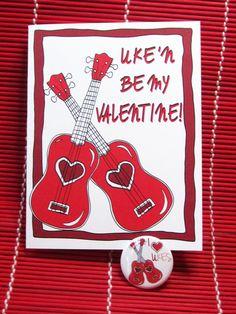 Ukulele Valentine card 'Uke'n be my Valentine' Ukulele player gift for uke musician love and hearts