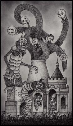 ink and pen on paper 19 X 11 cm Creepy Drawings, Dark Art Drawings, Arte Horror, Horror Art, Arte Grunge, Horror Photos, Spooky Tattoos, Creepy Pictures, Occult Art