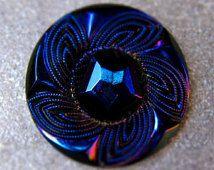 XL Czech glass button - Deco - Carnival glass - 40mm
