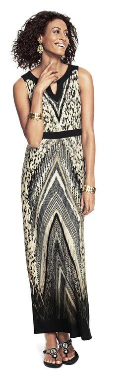 d7a55d4e6588fe Animal Chevron Diane Maxi Dress ~ my new dress ~ but where to go? Chicos