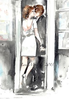 Love Romance Kiss Cafe Original Watercolor Painting - Watercolor Illustration by Lana