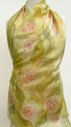 Long floral silk scarf hand painted - green light pink gold silk wrap - natural pure silk roses scarf - Pastel elegant wrap - gift for her Hand Painted, Painted Silk, Silk Wrap, Silk Roses, Green Silk, Silk Painting, Silk Scarves, Womens Scarves, Pink And Gold