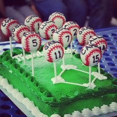 Baseball Cake Pop Cake -  end of the season cake.  Each player got a personalized cake pop. Looked like little baseballs with players name and number- sitting on a baseball diamond.  #baseballcakepop