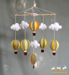yellow and grey hot air balloons baby mobile - baby mobile. $70.00, via Etsy.