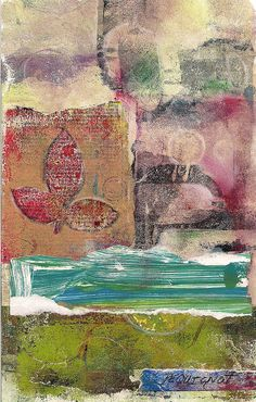 Kathleen Pequignot Mixed Media. Gelli printed papers, pencils, acrylics.