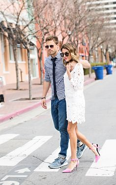 White Lace Dress and Mens gingham buttom up top. Perfect for date night or a casual wedding look
