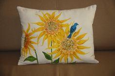 Blue Bird on Sunflowers  Hand Painted Pillow
