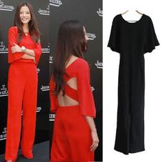 8f3b30d58e3773 2019 The Horn Sleeve Backless Cross Piece Pants Wide Leg Pants Trousers  Jumpsuit Red