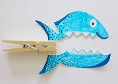 Knutselen met papier: vis op knijper