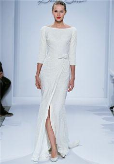 wedding dressses, bateau sheath, bridal gown, evening gowns, denni basso, bow, bride, beaded embroidery, 10 year anniversary