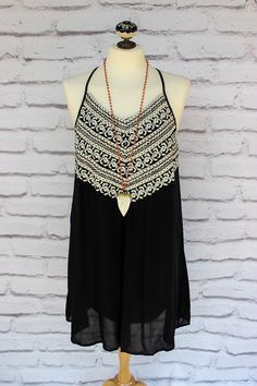 Cute embroidered dress, perfect for gameday - black and white dress