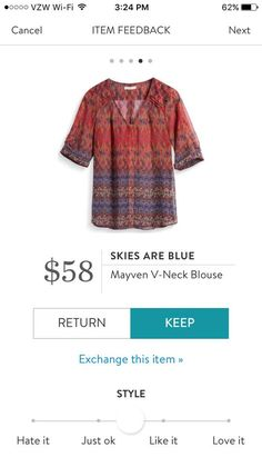 This is gorgeous! Looks like it would go well with jeans or khakis, adding a pop of color. Skies Are Blue Mayven V-Neck Blouse, multi-colored half sleeve