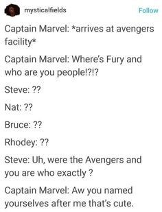 Cap knows about her cuz fury's always been bitchin about the cooler cap Avengers Memes, Marvel Jokes, Marvel Funny, Marvel Dc Comics, Marvel Avengers, Ms Marvel, Fandoms, Dc Memes, Geek Out