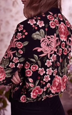 Floral Embroidered Rose Bomber Jacket by NEEDLE & THREAD for Preorder on Moda Operandi