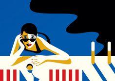 "Malika Favre - ""Domain Hollywood - Rendez-vous 1"" • un-kitchy, classic art poster style à la Art Deco & Bagel cocktail • french graphic illustrator • official site: http://malikafavre.com"