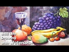 How to Draw A Still Life : Fruits in Watercolor | Step by step - YouTube