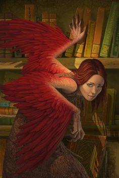 Angelic librarian / Bibliotecaria angelical (ilustración de Antonio Javier Caparo)