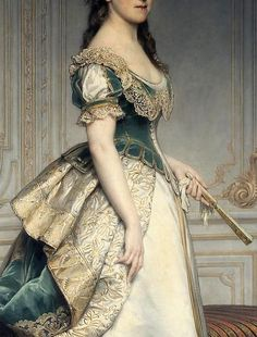 Incredible detail from a portrait of Nadezda Mihailovna Polovcevoya, by Charles-Francois Jalabert Victorian Art, Victorian Fashion, Vintage Fashion, Vintage Outfits, Vintage Dresses, Historical Costume, Historical Clothing, Moda Medieval, Old Dresses