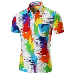 2018 Mens Short Sleeve Hawaiian Shirt Casual Floral Shirts Men Slim Fit Male Shirt Summer Beach Shirts GD-C Shirts & Tops, Beach Shirts, Cheap Shirts, Casual Shirts, Men Shirts, Short Shirts, Funny Hawaiian Shirts, Cool Shirts For Men, Printed Shirts