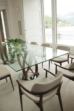 DUBLIN 8 seater walnut stain and glass dining table Walnut stain