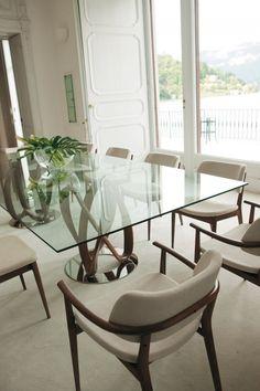Porada Infinity Dual Base Rectangular Dining Table With Glass Top Indoor Furniture UK