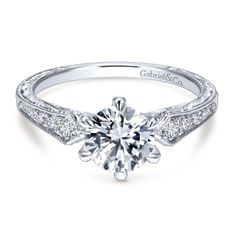 14K White Gold 1.22cttw Pointed Vintage Shank Round Diamond Engagement Ring