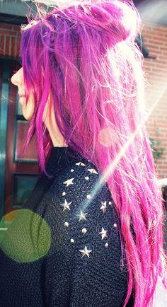 ! * YULIE KENDRA´S LIFE * !: Neon neon neon !#ianywear #sweater #studded #stars #pinkhair #purplehair