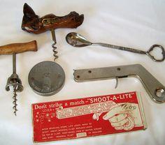 Vintage Kitchen Bar Tools Wine Cork Screw Bottle by pinkpainter