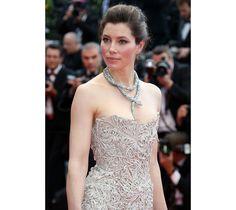 Cannes Red Carpet: Jessica Biel in Marchesa Fall/Winter 2012-2013 with Bulgari jewlery