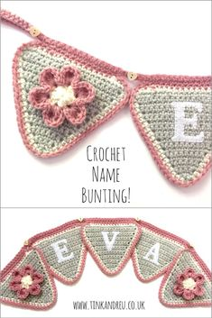 Our crochet bunting makes an adorable keepsake gift or nursery decoration. We offer a choice of colours and styles. This super girly design features a mix of light grey and dusky pink finished with a flower embellishment. Crochet Triangle Pattern, Crochet Bunting Pattern, Crochet Letters, Crochet Garland, Crochet Decoration, Quick Crochet, Crochet Home, Crochet Gifts, Diy Crochet