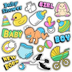 Baby Stickers, Printable Stickers, Cute Stickers, Dibujos Baby Shower, Baby Shower Clipart, Baby Shower Princess, Baby Boy Shower, Scrapbook Bebe, Baby Blog