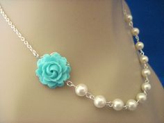 Bridesmaid Jewelry Turquoise Rose and White Pearl Wedding Necklace. $20.00, via Etsy.