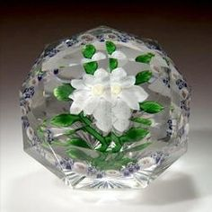antique paperweights and their value | Paperweight; Baccarat, Double Clematis, White, Star Cut Ground, 3 inch ...