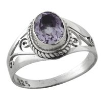 Delicate jali cut sterling silver ring with amethyst stone; made in Nepal; available sizes 4-10