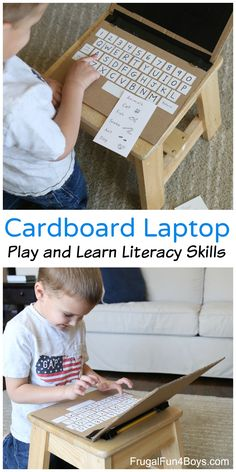 Literacy Learning with a Cardboard Laptop - Laptop - Ideas of Laptop - Literacy Learning with a Cardboard Laptop Practice matching capital and lower case letters spelling words etc. Literacy Skills, Early Literacy, Literacy Activities, Activities For Kids, Cardboard Box Crafts, Cardboard Toys, Childhood Education, Kids Education, Diy For Kids