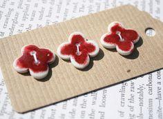 Bright cherry red buttons porcelain ceramic by susansharpeceramics, £9.00