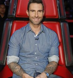 Adam Levine on the set of The Voice wearing a Rolex President Stella