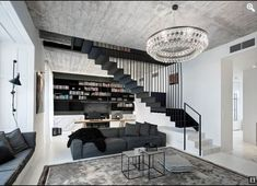 Amazing contemporary apartment located in Prague, Czech Republic, designed in 2017 by Oooox. Contemporary Kitchen Shelves, Contemporary Stairs, Contemporary Building, Contemporary Cottage, Contemporary Apartment, Contemporary Wallpaper, Contemporary Interior, Contemporary Style, Contemporary Office