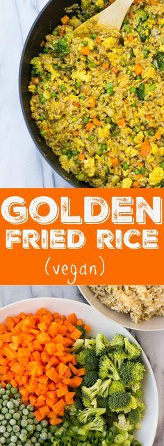 Golden Fried Rice with scramble tofu. Vegan, gluten-free.