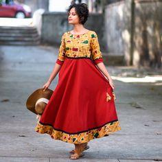 Rustorange Mustard & Red Batik Flared Anarkali Kurta