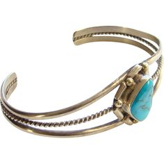 Vintage Navajo Turquoise and Sterling Silver Cuff Bracelet Southwestern