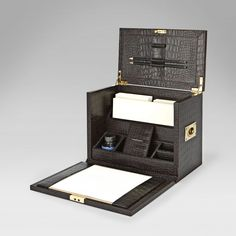 somewhere in between with back top flipping open  Traveling Stationairy Desk...Smythson