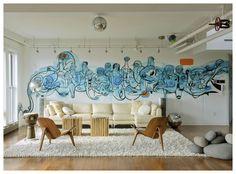 really rad living room graffiti