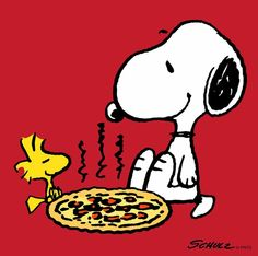 Snoopy and Woodstock Eating Pizza Snoopy Love, Snoopy Und Woodstock, Snoopy Cartoon, Peanuts Cartoon, Peanuts Snoopy, Meu Amigo Charlie Brown, Charlie Brown Und Snoopy, Peanuts Characters, Cartoon Characters