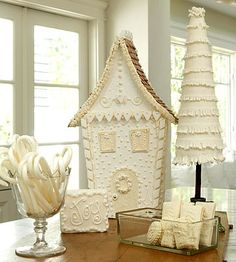 gingerbread house in white...