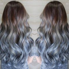Brown hair you will love this icy blue hair color ombre