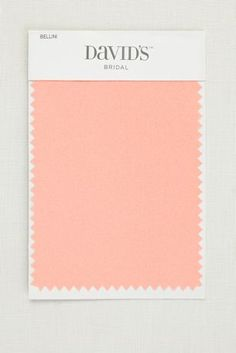 5 1/2 by 3 1/2 inch satin swatch. Available in David's Bridal's exclusive color palette. Get your color swatches to perfectly coordinate your big day!   Ships for FREE!   Fabric Swatch shown in Bellini.