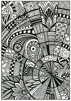 Doodle, pattern, drawing, zentangle, postcard