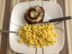 I may still be messed up from my surgery today and haven't eaten since last night  but I still refuse to eat fast food! Home made Mac n cheese and steak rolled with spinach and cheese! Yum cheese!